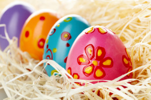 Row of colored and decorated Easter eggs
